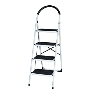 Good Life EN131 Folding Step Ladder Home Depot Steel Step Ladders Lightweight 300 lb Capacity with Hand Grip Anti-Slip and Wide Pedal (4 Step)