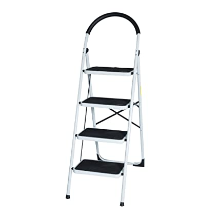 c73b31c051e7 Good Life EN131 Folding Step Ladder Home Depot Steel Step Ladders  Lightweight 300 lb Capacity with Hand Grip Anti-Slip and Wide Pedal (4  Step) - - Amazon. ...