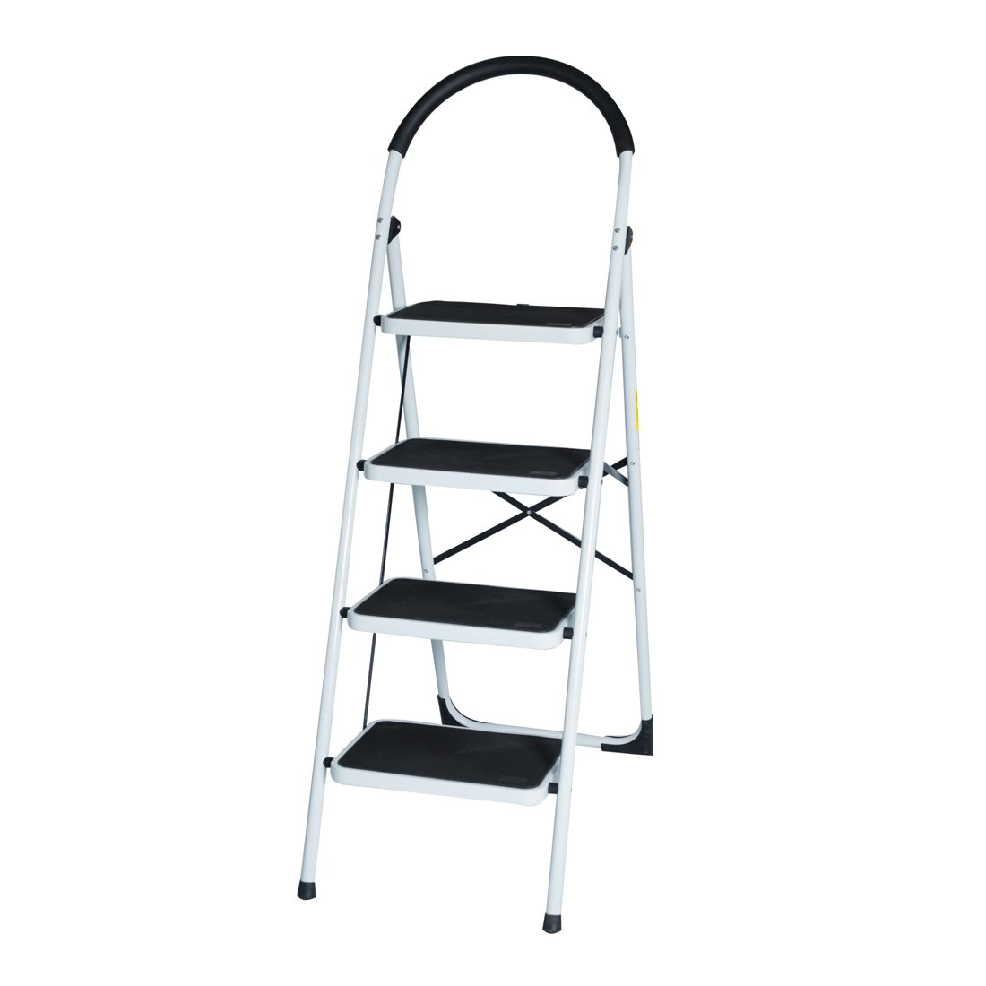 GOOD LIFE EN131 Folding 4 Step Ladder Home Depot Steel Step Ladders Lightweight 300 lb Capacity with Hand Grip Anti-slip and Wide Pedal HMI094
