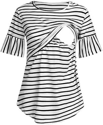 Jeash Women's Short Sleeve Layered Nursing Striped Tops for Breastfeeding Blouse Shirt