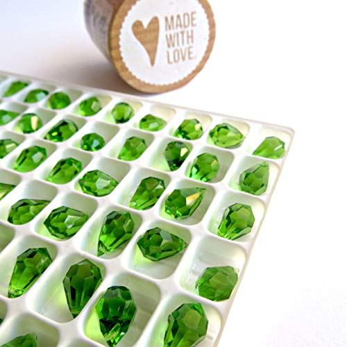 10 pcs Peridot Green Glass Faceted Teardrop Briolette Beads, Top drilled faceted briolette 10mm (Drilled Teardrop Green)