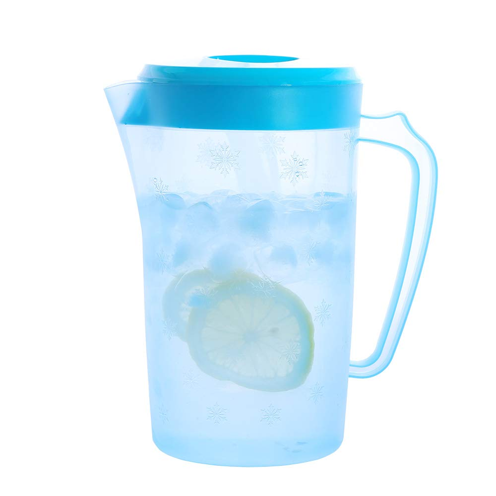 UPSTYLE Food-Grade Plastic Covered Pitcher with Lid Water Bottle Container Juice Jug Great for Cold Water, Ice Tea, Juice, Fruit and Beverages(2200ml/75oz/0.58Gallon/2Quart Blue)