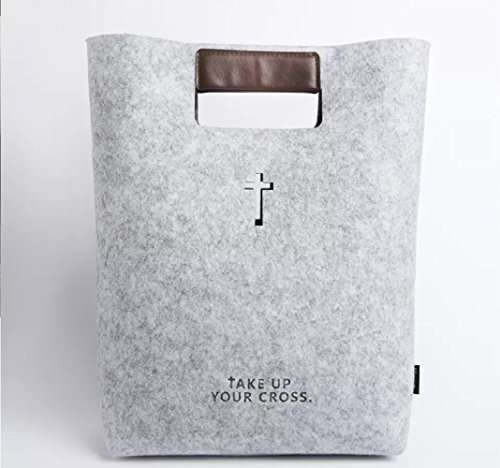 Bible Carrying Case Handbag Bible Cover Wool Felt Bible Bag Leather Tote Bible Case for Women Business Office Bag for iPad/Macbook, Notebook, Christian Gifts, Grey, Children's - Bible Durable Cover