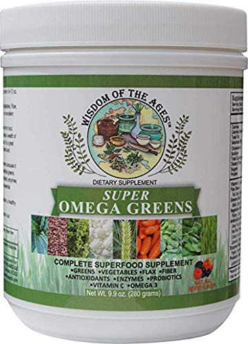 Super Omega Greens Complete SUPERFOOD Supplement with Greens, Vegetables, Flaxseed, Fiber, Antioxidants, Enzymes, Probiotics, Vitamin C and Omega-3!