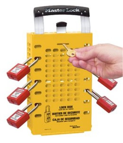 Master Lock Group Lock Box for Lockout/Tagout, Steel, Yellow