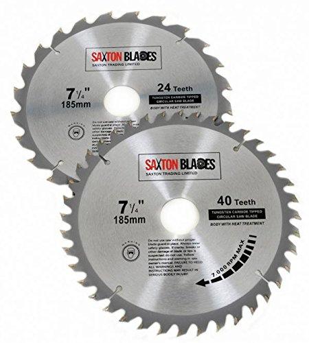 Tct185mxa 2x Saxton TCT Lames de scie à bois circulaire 185mm x 30mm alésage pour Bosch Makita Dewalt Pack A pour scie 190mm Saxton Trading