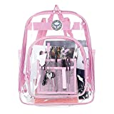 Bagail Clear See Through Backpack Heavy Duty Transparent Daypack Student School Bookback (pink)