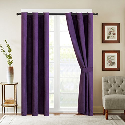 4 Piece SOLID PURPLE Micro Suede Grommet Window Curtain set 108 x 84-inch, 2 Panels and 2 - Panel Set Suede Window