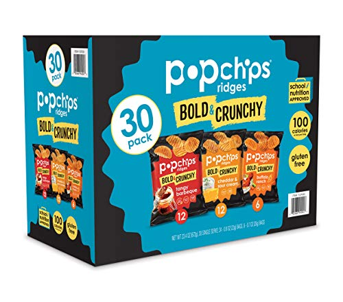 Popchips Ridges Potato Chips Variety Pack Single Serve 0.8 oz Bags (Pack of 30) 4 Flavors: 12 Tangy BBQ, 12 Cheddar & Sour Cream, 6 Buffalo Ranch