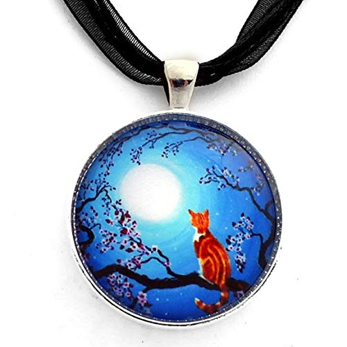 Creamsicle Kitten in Blue Moonlight Zen Moon Cherry Blossoms Orange Tabby Cat Pendant Necklace