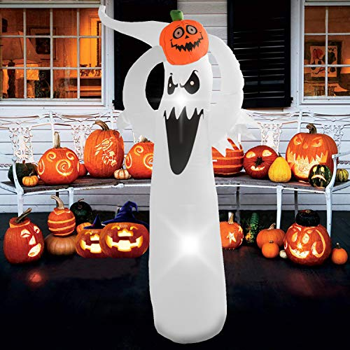 Phoenixreal 6 Foot Halloween Inflatable Air Blown White Ghost with Pumpkin Lighted for Home Yard Garden Indoor and Outdoor Decoration