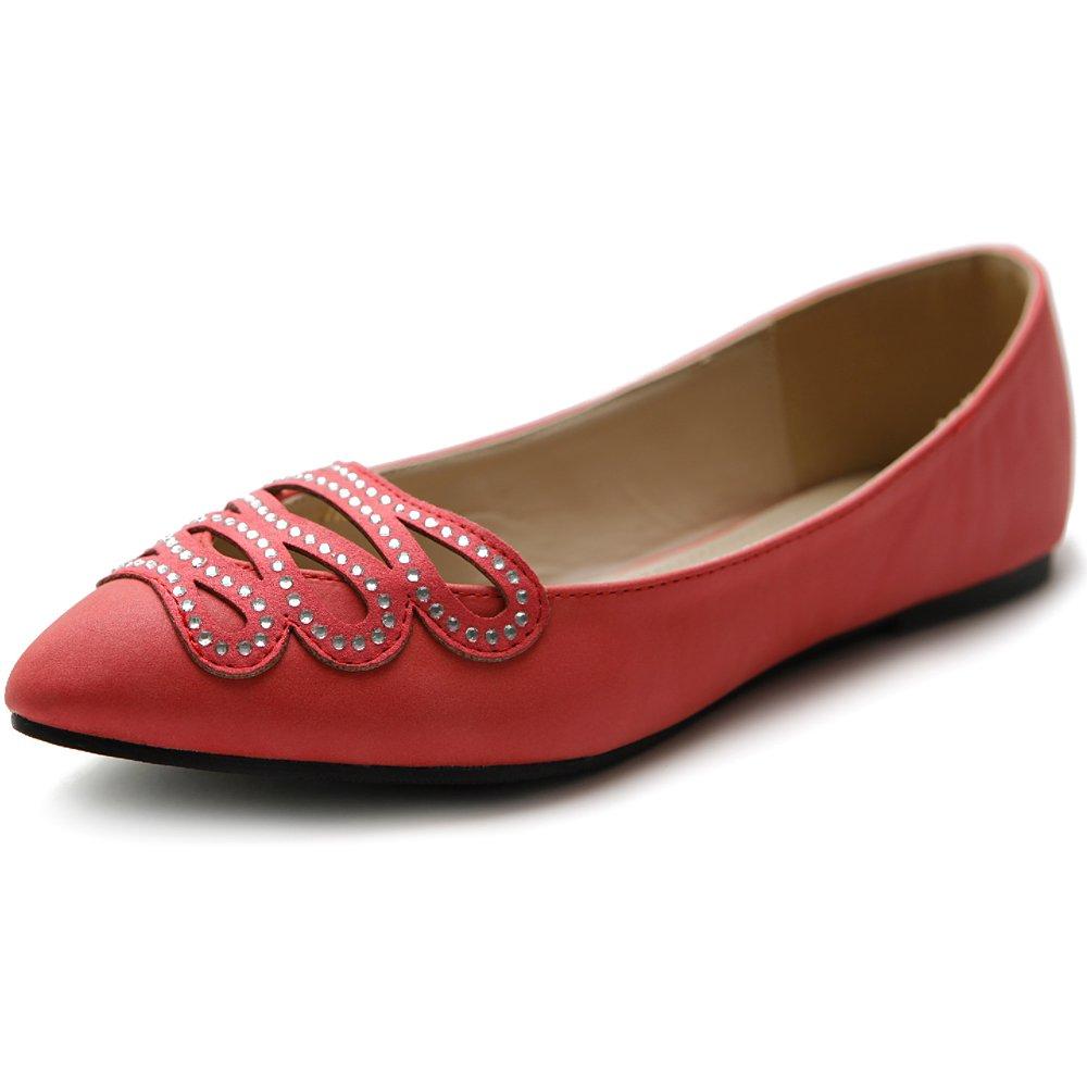 Ollio Women's Shoe Ballet Infinity Rhinestone Pointed Toe Flat B00I8XPFB0 6.5 B(M) US|Scarlet