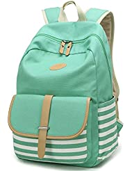 Geek-M Canvas Backpack Nautical Striped School Rucksack Satchel for Teens Girls