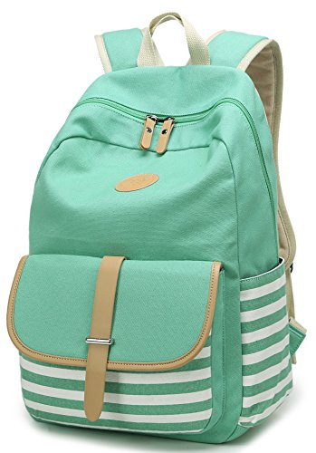 Green Striped Backpack (Geek-M Canvas Backpack Nautical Striped School Rucksack Satchel for Teens Girls (Green))