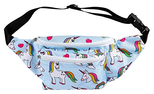 Women's Fanny Pack - Cute Unicorns and Love Hearts