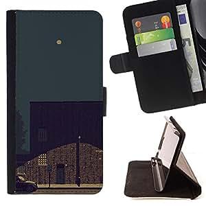 BullDog Case - FOR/Samsung ALPHA G850 / - / NIGHT SKY ART PAINTING FULL MOON STREET LIGHT /- Monedero de cuero de la PU Llevar cubierta de la caja con el ID Credit Card Slots Flip funda de cuer