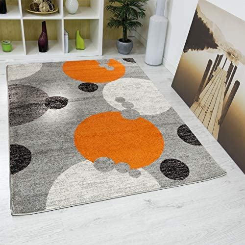Oxford Collection Style 02 Orange Grey Abstract Circles Area Rug 7 .4 x 10 .6