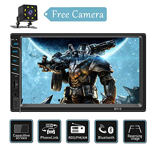 Double Din Car Stereo with Bluetooth USB/SD/AUX Input Capacitive Touch Screen Car Stereo AM/FM Car Radio Audio Video Player with Mirrorlink Rear Camera