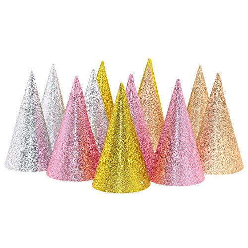 Kids Party Cone Hats for Birthday, Assorted 12 ct