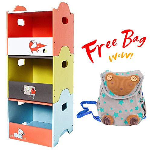 labebe - Storage Bins, Toy Wooden Storage Cubes Box, Kid Toy Organizer and Storage for 1-5 Years Old, 3 Toy Stacking Bins, Cube Useful Stackable Storage Bins, Toy Box Container as Birthday Gift - Fox ()
