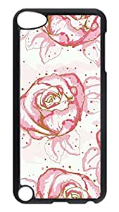 Brian114 Case, iPod Touch 5 Case, iPod Touch 5th Case Cover, Cartoon Pink Roses Retro Protective Hard PC Back Case for iPod Touch 5 ( Black )