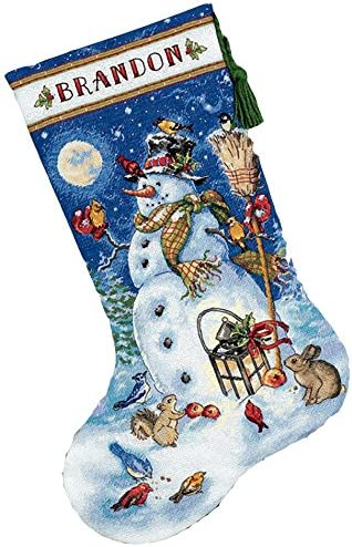 Snowman and Reindeer Dimensions Gold Collection Counted Cross Stitch Kit 5 x 7 18 Count White Aida