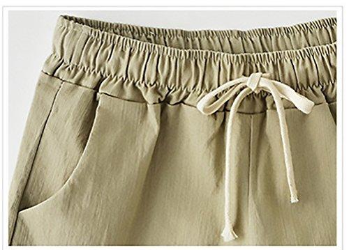 Fulvo Ragazza Estivi Pantaloni Solido Coulisse Abbigliamento Larghi Elegante Taglie Donna Shorts Casual Forti Corto gnwqCBpqTW
