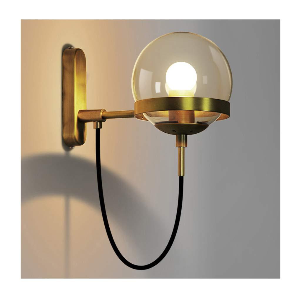Unbekannt  Wall lamp Light Wandleuchten Industrie Wind Glaskugel E27 Bedside Restaurant Cafe Wandleuchte Wanddekoration Lichter (Farbe   Gold)