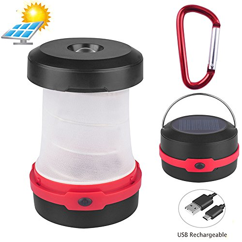 (YOUYOUTE Solar Camping Lantern,Flashlights USB PowerBank Rechargeable Battery(Solar Powered/USB Charged) Portable 3 Modes Collapsible Emergency LED Lights for Camping Hiking Fishing Tent)