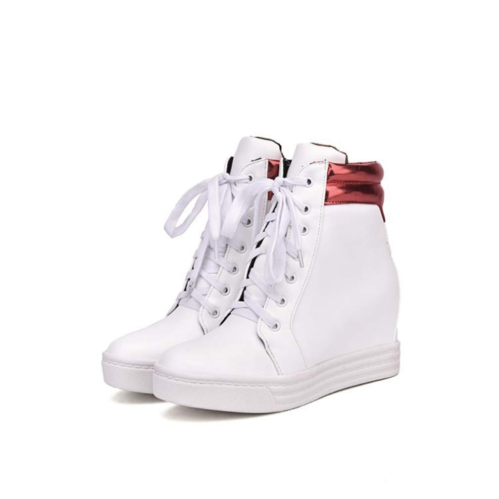 Red Hoxekle Women Platform Wedge Sneakers Lace Up shoes Woman Wedges White Ladies Casual Footwear