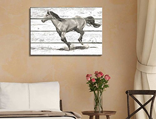 A Horse Running Along The Path On a Wooden Textured Background