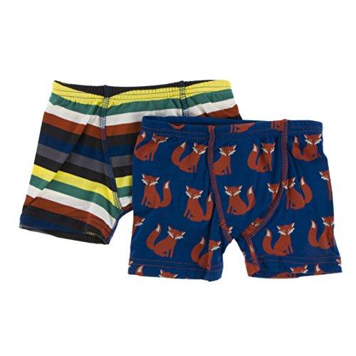 Kickee Pants Little Boys Boxer Briefs Set (Set of 2), Dark London Stripe & Navy Fox, Large -