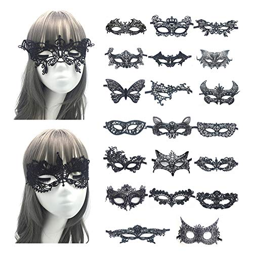 Lace Masquerade Mask Set - Women Sexy Venetian Lace Mask Pack for Halloween Masquerade Party Decoration (Black) -