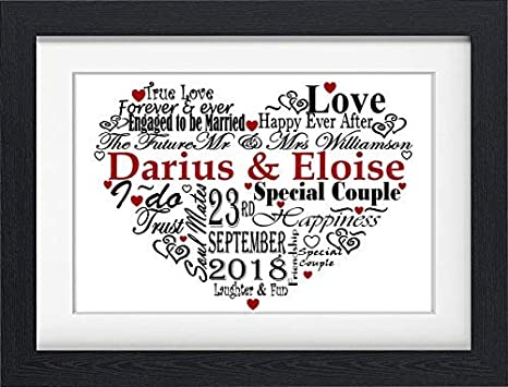 Personalised Fiance Fiancee Engagement Birthday Love Word Art Gift Print