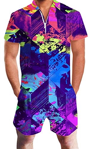 - 80s Retro Mens Romper 3D Fashion Print Purple Red Yellow Graffiti Pants One Piece Bro Male Tropical Pink Flamingo Jumpsuit Casual Beach Shorts Set Summer Crew Neck Outfits Zipper Cargo Overalls