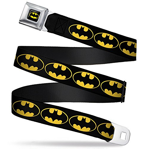 Buckle-Down Seatbelt Belt - Bat Signal-2 Black/Yellow/Black - 1.5