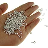 "Yueton Pack of 500 Mini Screw Eye Pin Peg Jewelry Making Findings for Crafting 10*4.5mm/0.39*0.18"" (Silver)"