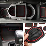 Auovo Anti-dust Door Mats Inserts Cup Center Console Liner Accessories Fit for Honda Civic Sedan 2016 2017 2018 2019 2020 (21pcs/Set, Red)