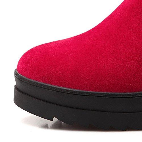 Sólido Botas con Rojo Mujeres Cuña Puntera Media Nudo Caña Redonda AllhqFashion 0twUq8q