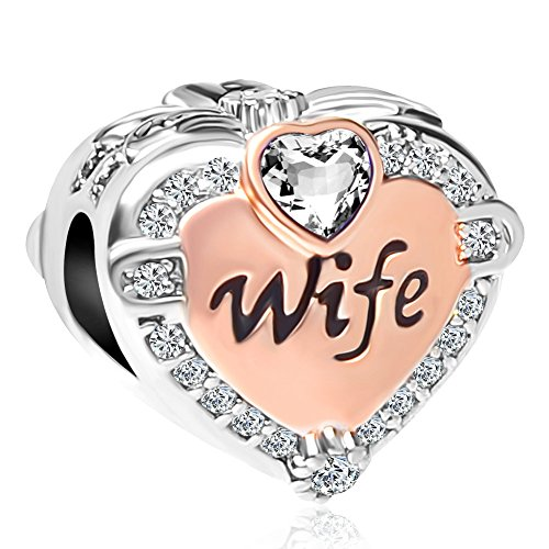 CharmSStory Rose Gold Wife Heart Love Beads Charms for Bracelets & Necklaces (White) (Pandora Charms Prime)