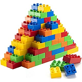 Prextex 100 Piece Classic Big Building Blocks Compatible with All Major Brands STEM Toy Large Building Bricks Set for All Ages