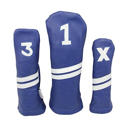Sunfish Leather Headcover Set 1-3-X Blue and White