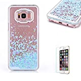 For Samsung Galaxy S8 Case [with Free Screen Protector],Funyye Flowing Liquid Bling Glitter Love Chip Design Transparent Soft TPU Crystal Clear Colourful Change Protective Back Case Cover Shell for Samsung Galaxy S8-Blue