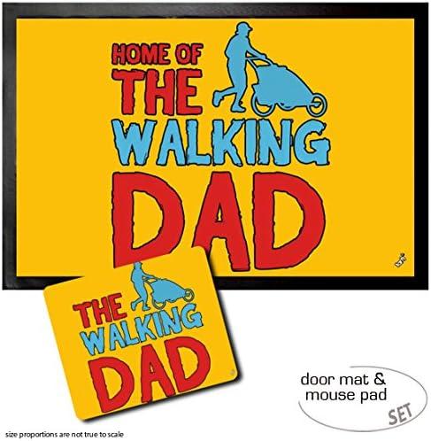 1art1 Padres, Home of The Walking Dad Felpudo Alfombra (60x40 cm) + Alfombrilla para Ratón (23x19 cm) Set Regalo