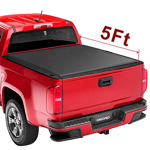oEdRo Upgraded Soft Tri-fold Truck Bed Tonneau Cover On Top Compatible for 2015 2016 2017 2018 2019 Chevy Colorado/GMC Canyon with 5ft Bed | Fleetside
