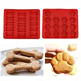 Set of Two Doggie Treat Silicone Trays: Puppy Paw Print and Doggie Bones Baking Molds. Two Dog Biscuit Baking Trays