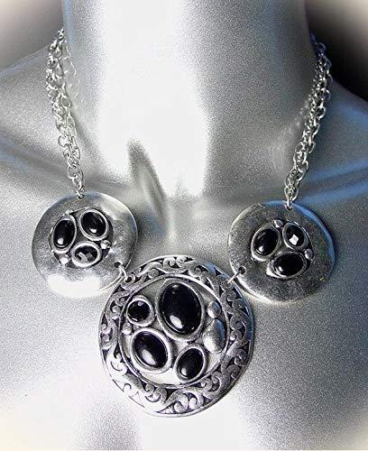 Chic Designer Antique Silver Filigree Black Onyx Beads Drape Necklace Set For Women