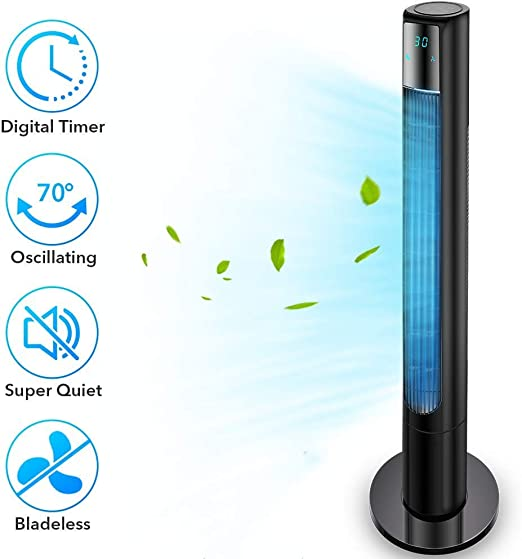 Oscillating Tower Fan with Remote Control 48 Inch 3 Speed Quiet Portable Lasko