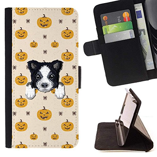 [ BORDER COLLIE ] Embroidered Cute Dog Puppy Leather Wallet Case FOR LG K4 (2017) / LG K8 (2017) / LG Aristo/LG Phoenix 3 / LG Risio 2 / LG Fortune [ Scary Halloween Pumpkin Pattern ] ()