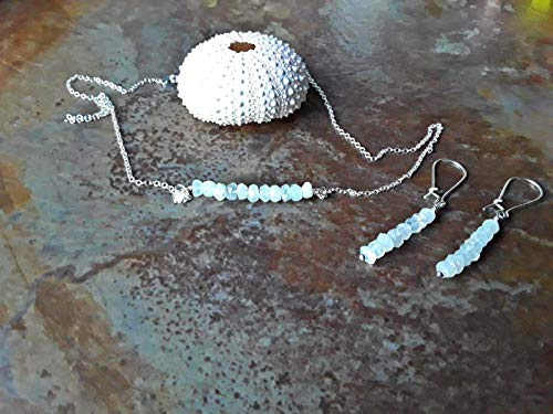 Rainbow Moonstone June Birthstone Earrings and Pendant Necklace Gift Set Sterling Silver Multiple Size Options